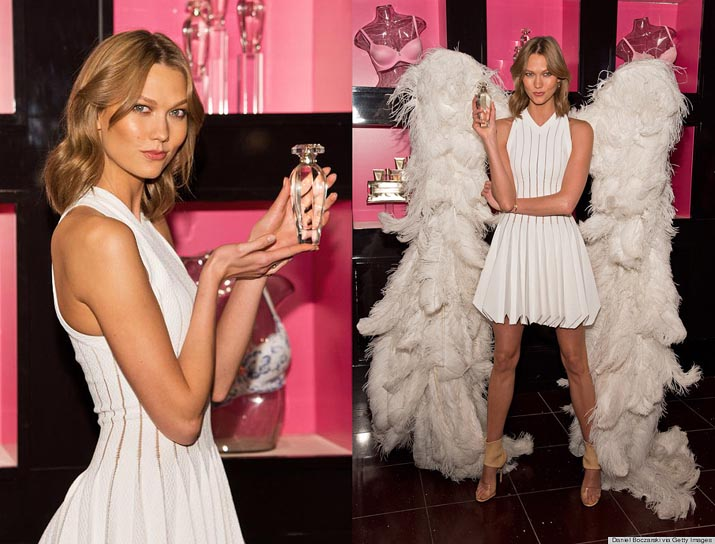 CHICAGO, IL - APRIL 29: Victoria's Secret Angel Karlie Kloss launches 'Heavenly' at Victoria's Secret, N Michigan Ave on April 29, 2014 in Chicago, Illinois. (Photo by Daniel Boczarski/Getty Images for Victoria's Secret)